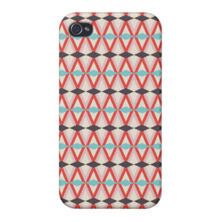 Pretty Red Teal Aztec Weaving Diamond Pattern iPhone 4 Cover