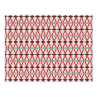 Pretty Red Teal Aztec Weaving Diamond Pattern Postcard