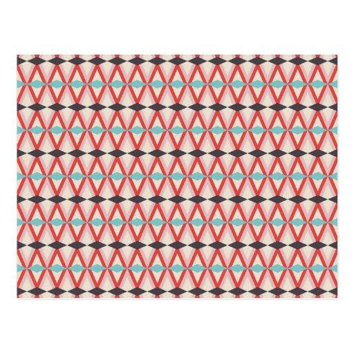 Pretty Red Teal Aztec Weaving Diamond Pattern Postcards
