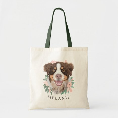 Pretty Red Tri Aussie with Flowers | Personalized Tote Bag