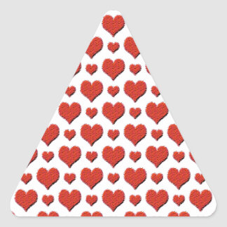 Pretty red valentine heart pattern triangle sticker