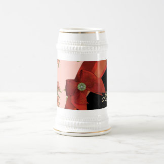 Pretty red vintage floral flower pattern beer stein