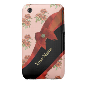 Pretty red vintage floral flower  pattern Case-Mate iPhone 3 cases