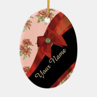 Pretty red vintage floral flower pattern ceramic ornament