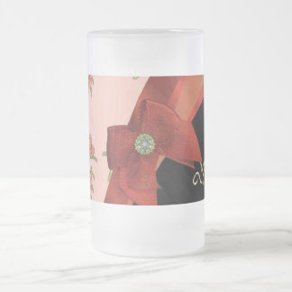Pretty red vintage floral flower pattern frosted glass beer mug
