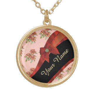 Pretty red vintage floral flower pattern gold plated necklace