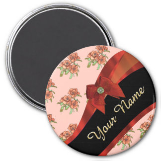 Pretty red vintage floral flower pattern magnet