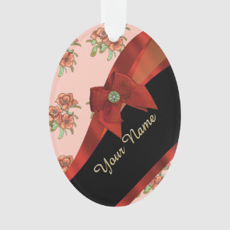 Pretty red vintage floral flower pattern ornament