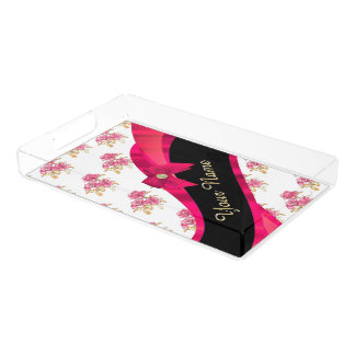 Pretty red vintage floral flower pattern rectangle serving trays