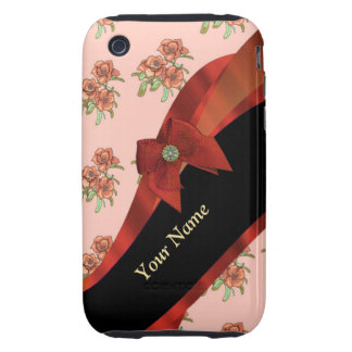 Pretty red vintage floral flower  pattern tough iPhone 3 covers