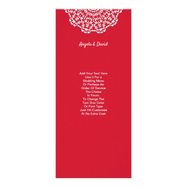 Professional Business Pretty Red White Lace Pattern Personalized Rack Card