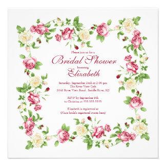 Pretty Red & White Rose Floral Bridal Shower Custom Invite