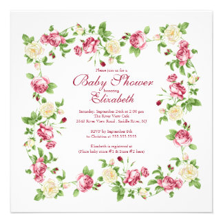 Pretty Red & White Rose Floral Girl Baby Shower Announcements