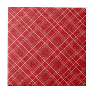 Pretty Red White Stripes Plaid Pattern Gifts Tile