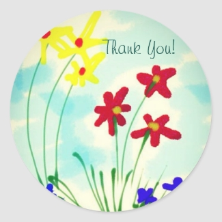 Pretty Red & Yellow Fingerpaint Flowers Thank You