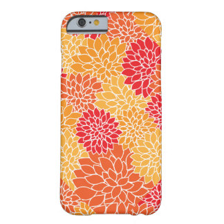 Pretty Red Yellow Gold Mums Flower Modern Pattern Barely There iPhone 6 Case