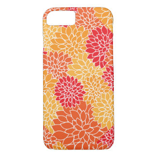 Pretty Red Yellow Gold Mums Flower Modern Pattern iPhone 7 Case