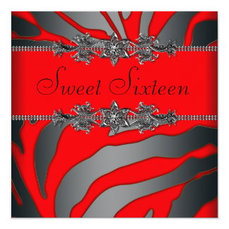 Pretty Red Zebra Sweet Sixteen Birthday Party Card