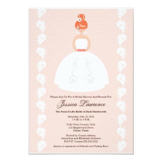 "Pretty Redhead Bridal Shower Pink Invitations 5"" X 7"" Invitation Card"