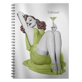Pretty Redhead Lady  Martini Customizable Notebook