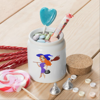 Pretty Redheaded Witch Carrying Broom and Cauldron Candy Dish