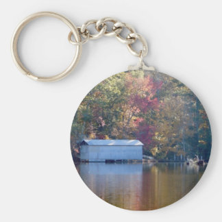 Pretty Reflection - Boathouse by the Water Basic Round Button Keychain