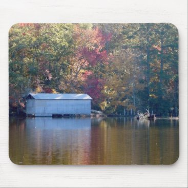 willowdewisp Pretty Reflection - Boathouse by the Water Mouse Pad
