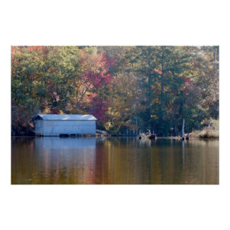 Pretty Reflection - Boathouse by the Water Print