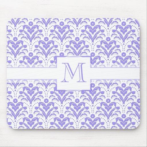 Pretty Retro 1930s Art Deco Purple Damask Pattern Mouse Pad