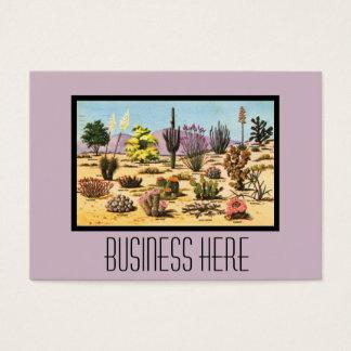 Pretty Retro Cactus Chart Girly Dusty Pink Desert Business Card