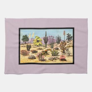 Pretty Retro Cactus Chart Girly Dusty Pink Desert Hand Towel