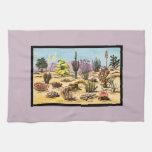 Pretty Retro Cactus Chart Girly Dusty Pink Desert Towel