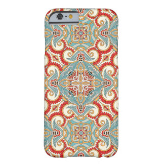 Pretty Retro Chic Red Teal Floral Mosaic Pattern Barely There iPhone 6 Case
