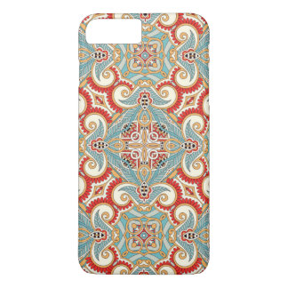 Pretty Retro Chic Red Teal Floral Mosaic Pattern iPhone 7 Plus Case