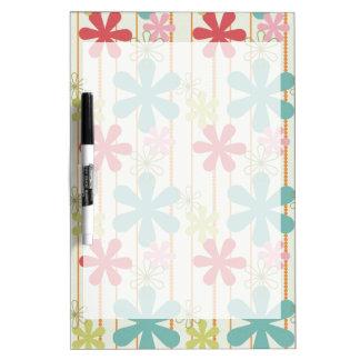Pretty Retro Colorful Wall Flowers Stripes Pattern Dry-Erase Board