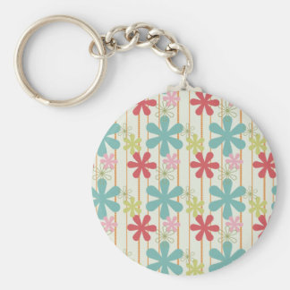 Pretty Retro Colorful Wall Flowers Stripes Pattern Keychain