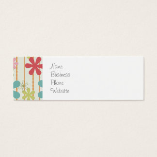 Pretty Retro Colorful Wall Flowers Stripes Pattern Mini Business Card