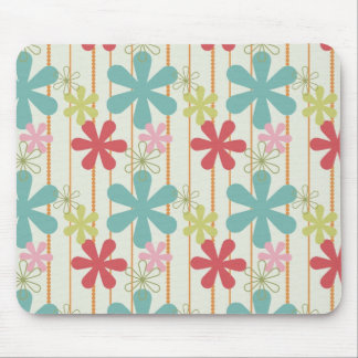 Pretty Retro Colorful Wall Flowers Stripes Pattern Mouse Pad