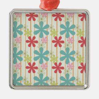 Pretty Retro Colorful Wall Flowers Stripes Pattern Christmas Tree Ornament