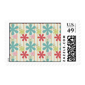 Pretty Retro Colorful Wall Flowers Stripes Pattern Postage Stamps