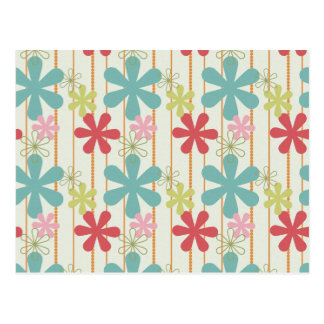 Pretty Retro Colorful Wall Flowers Stripes Pattern Postcard