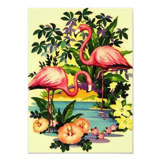 Pretty Retro Flamingos Pool Party Invitations