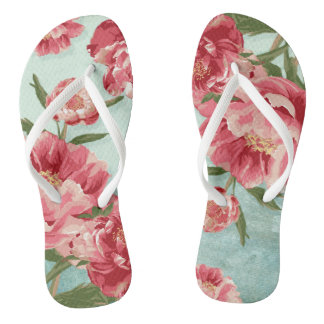 Pretty Retro Flower Bridesmaid Wedding Chintz Flip Flops