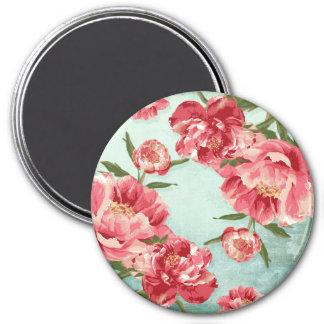 Pretty Retro Flower Chintz Peonies Personalized 3 Inch Round Magnet