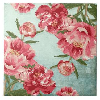 Pretty Retro Flower Chintz Peonies Personalized Tile