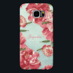 "Pretty Retro Flower Elegant Stylish Chintz Peonies Samsung Galaxy S6 Case<br><div class=""desc"">Modern, pretty retro flower, stylized peonies in bright fresh colors especially perfect for Spring or Summer fashion accessorizing. Classic colors that look current and new. Personalized designer phone case with your name and monogrammed initial is easy to change out using the template fields. This design has a matching Wedding Invitation...</div>"