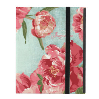 Pretty Retro Flower Personalized Monogram Chintz iPad Covers