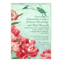 Pretty Retro Flower Rehearsal Dinner Peony & Birds Card