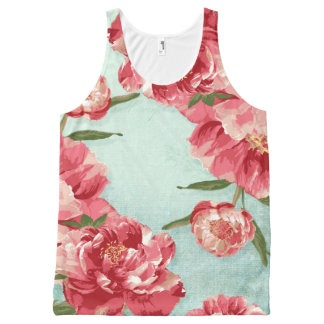 Pretty Retro Flower Vintage Stylish Chintz Peonies All-Over Print Tank Top