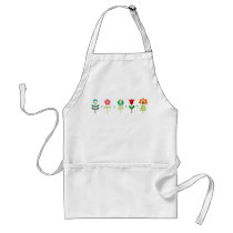 Pretty Retro folk flowers Adult Apron